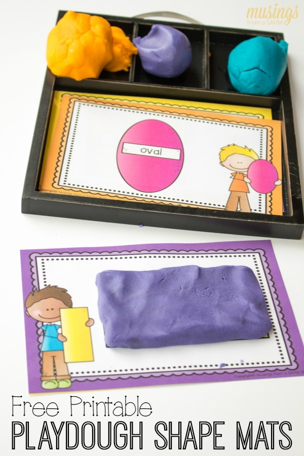 Children won't even realize they're learning as they enjoy these playdough shape mats! Perfect for at-home play or preschools, this simple activity helps with dexterity too. Download your free printable shape mats for kids here: