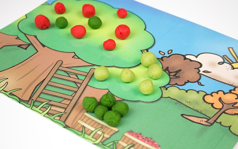 photograph regarding Free Printable Playdough Mats titled Printable Apple Playdough Mats