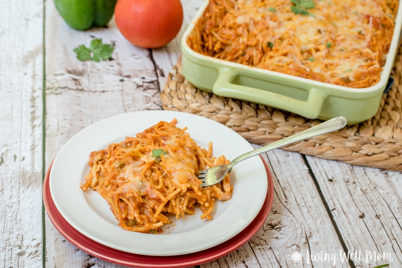 Southwestern Turkey Pasta Bake recipe: with a flavorful southwestern-inspired sauce, pasta, and turkey breast, this gluten free dinner is easy-to-make, budget friendly, and a favorite family meal.