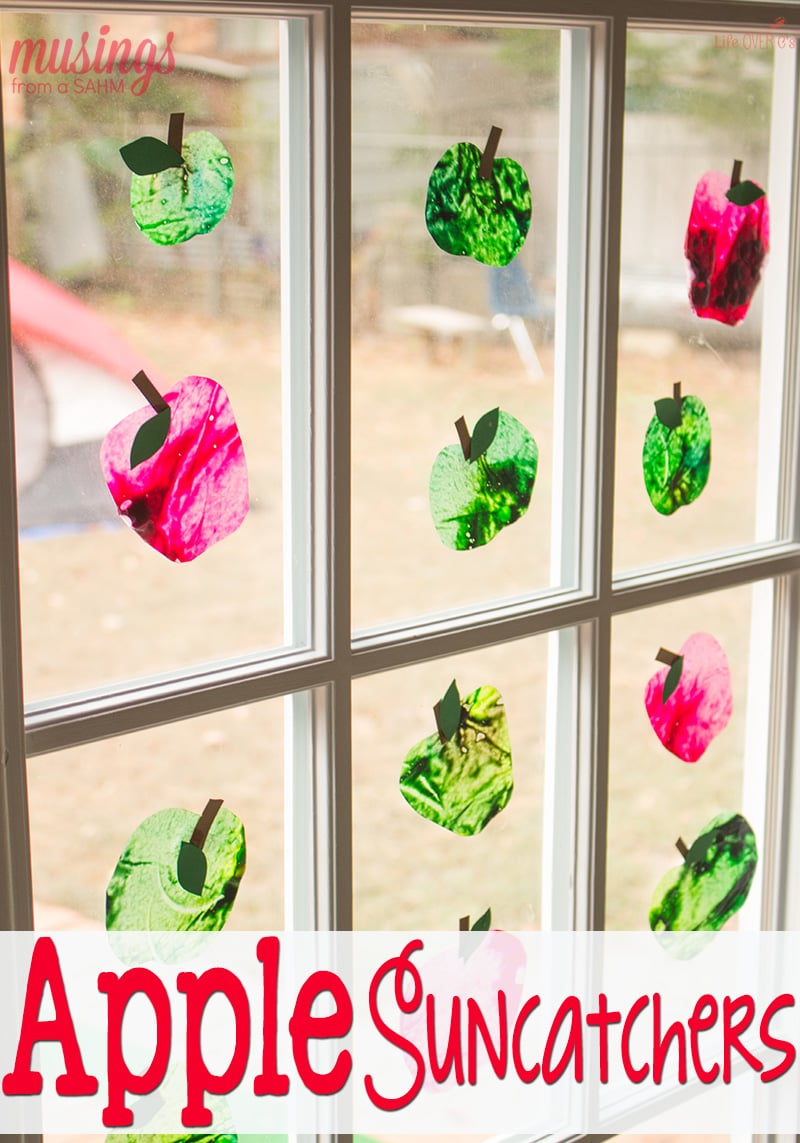 These DIY apple sun catchers are so easy to make! Definitely on my to-do list for fall crafts!