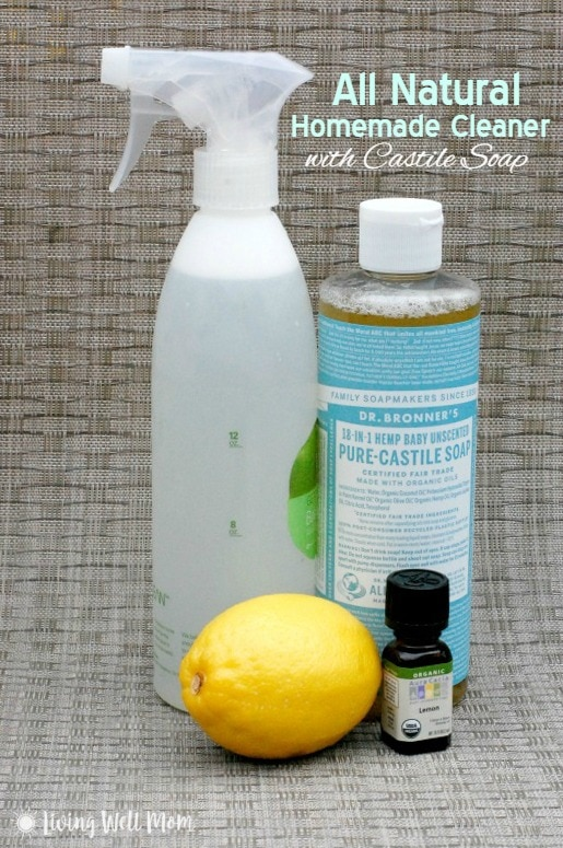 Say good-bye to expensive cleaners with this All Natural Homemade Cleaner with Castile Soap. It's non-toxic, easy-to-make, effective, and costs pennies per bottle!