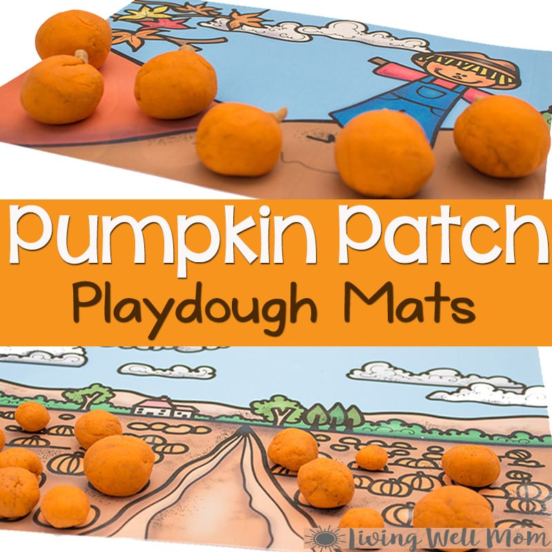 These free printable pumpkin playdough scenes are sure to be a hit with your kids this fall! Download three Pumpkin Playdough Mats for lots of opportunities to create!