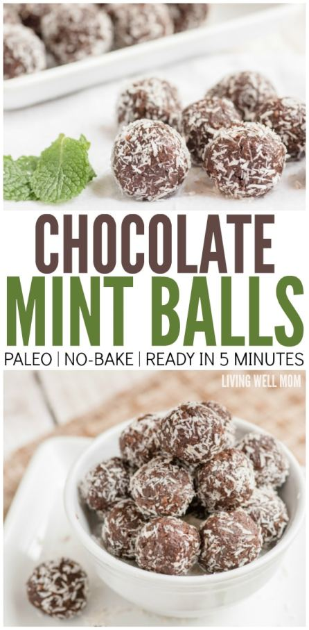 These Chocolate Mint Balls are addictively delicious and with no grains, dairy, or refined sugar, it's a guilt-free snack! Plus they take just 5 minutes to make!