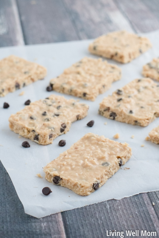 Chocolate Chip Coconut Bars are melt-in-your-mouth tasty and won't last long! It's a good thing it takes just 5 minutes to whip up a batch! With just 6 simple ingredients, this no-bake recipe is Paleo, Gluten-Free, Grain-Free, and Refined-Sugar Free.