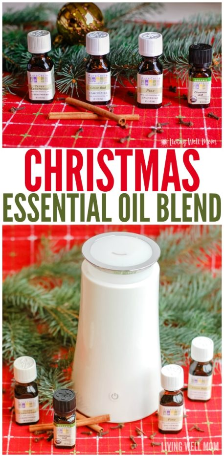 Here's a simple Christmas essential oils blend you can make yourself! This is an easy all-natural way to fill your home with your favorite Christmas scents, like pine and cinnamon.