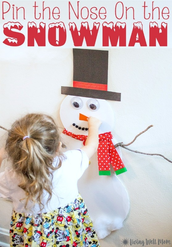 This Pin-the-Nose on the Snowman activity is perfect for keeping kids occupied on a cold, snowy day or even as a winter birthday party activity. Plus it only takes about 15 minutes to make!