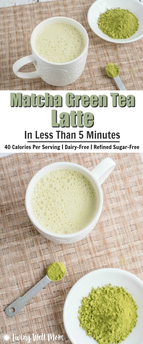 Need an energy boost? You'll love this guilt-free 40 calorie Matcha Green Tea Latte recipe! It provides long-lasting energy, takes less than 5 minutes to make, and has no dairy, soy, or refined sugar!