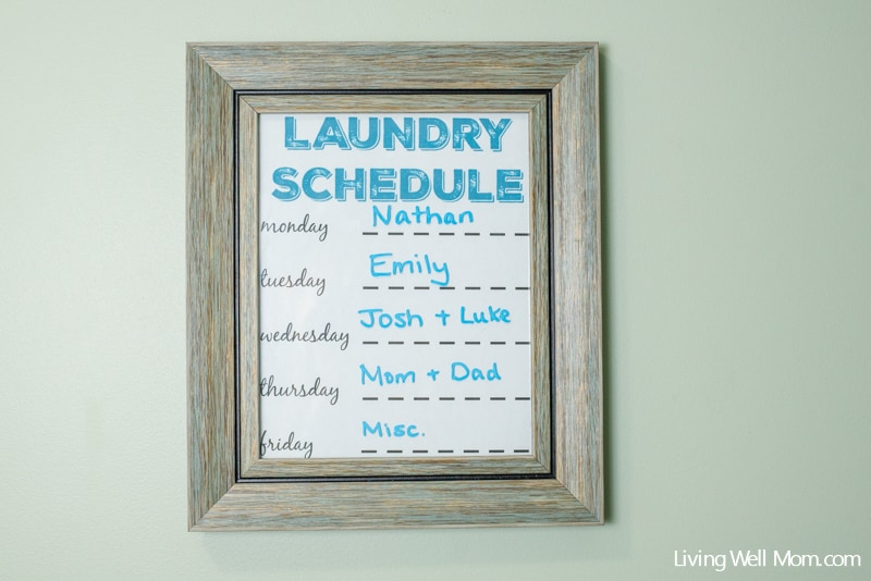 laundry schedule - back to school hacks