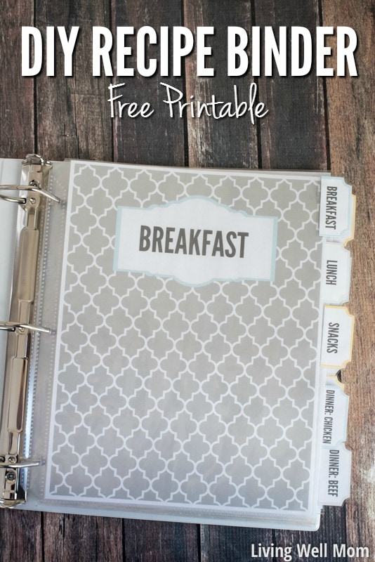 graphic regarding Printable Recipe Book Cover named Do it yourself Recipe Binder (with Absolutely free Printable Downloads)