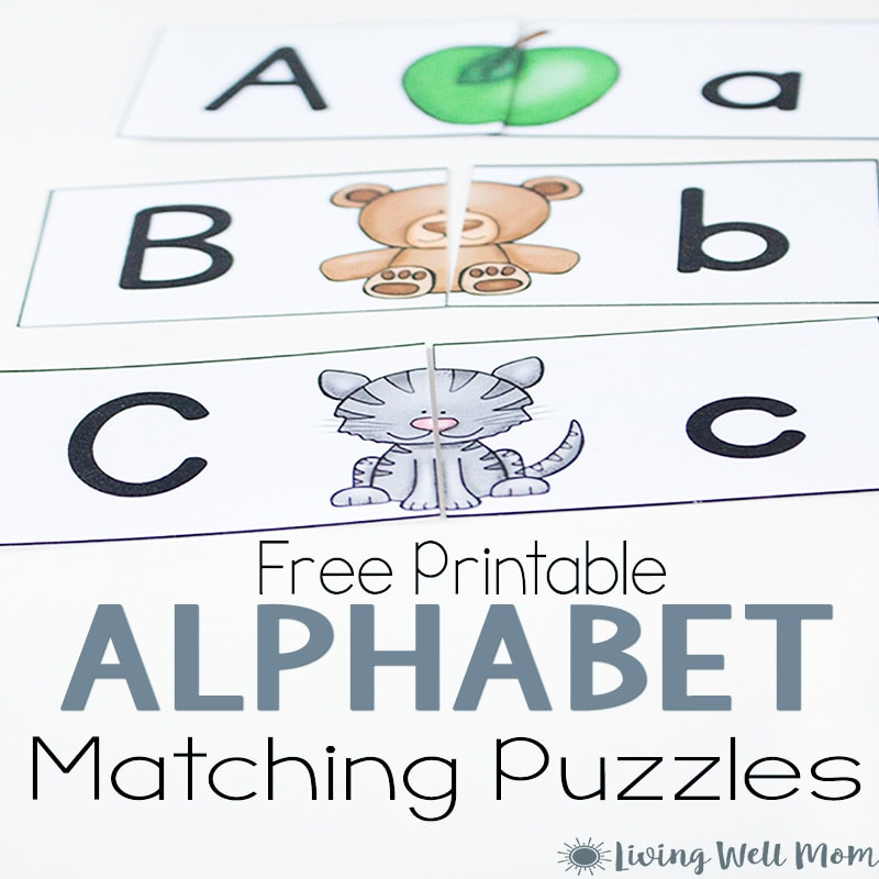 photo regarding Alphabet Puzzle Printable called Uppercase Lowercase Letter Matching Puzzle for Preschoolers