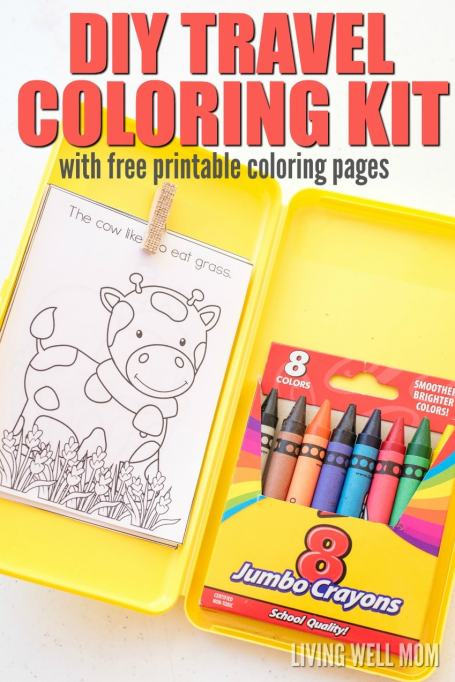 Keep your kids occupied on road trips with this easy-to-make DIY Travel Coloring Kit. It has everything kids need to color, including a clip for coloring pages and an attached crayon box so they're less likely to drop things. Plus free printable coloring pages - the perfect size for this kit!