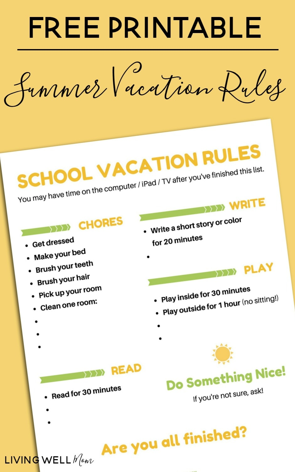 graphic relating to Summer Rules Printable named Free of charge Printable Summer months Getaway Guidelines Chart