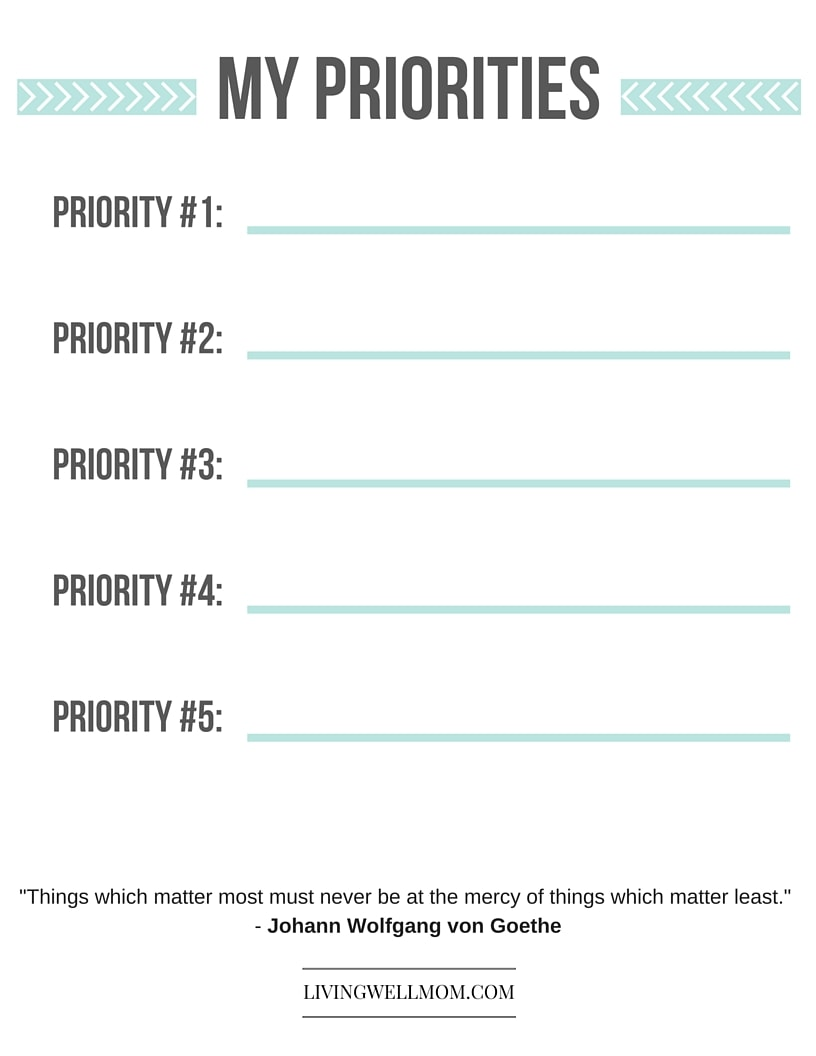 "The simple solution to reducing stress and doing what really matters....Download this free printable ""Priorities"" list now!"