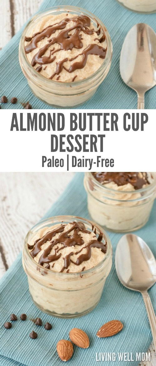 If you love peanut butter cups, you're going to love this healthier Almond Butter Cup Dessert that takes just 5 minutes to whip up! Plus this recipe is Paleo and gluten-free, dairy-free, refined sugar-free too!