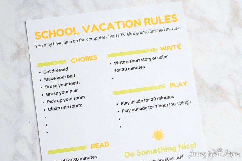 graphic regarding Summer Rules Printable called Totally free Printable Summer season Holiday vacation Guidelines Chart