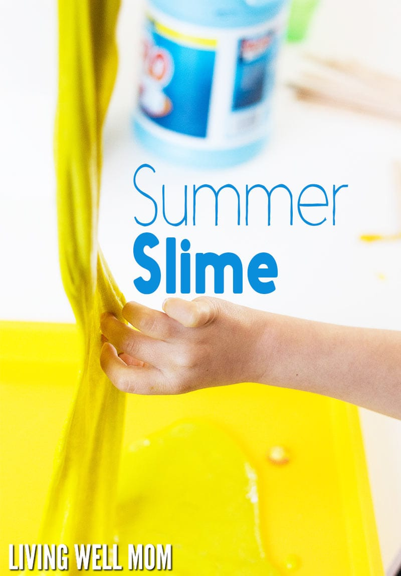 With just a few ingredients (no borax!), this super stretchy Homemade Summer Slime takes less than 5 minutes to make and will keep kids occupied for hours! Get the easy step-by-step photo directions here: