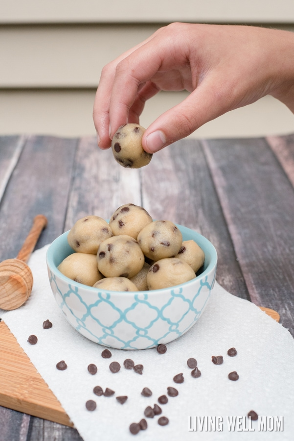 Craving cookie dough? Whip up a batch of these delicious Paleo Cookie Dough Bites in just 5 minutes! This egg-free, dairy-free easy recipe is a favorite with both kids and adults.