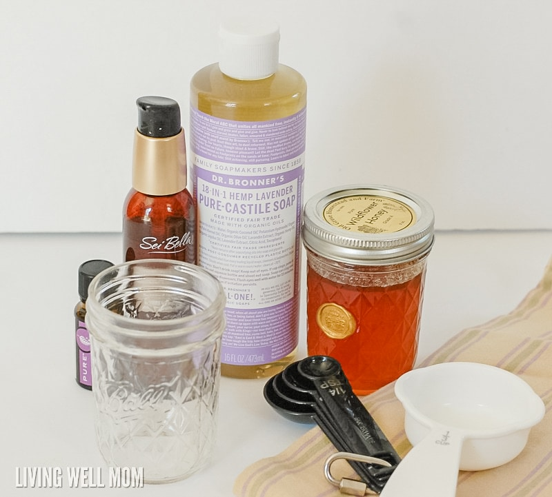 Homemade Lavender Honey Face Wash in 5 Minutes! This face wash takes just 5 minutes to make and uses essential oils and all-natural ingredients as a <a href=