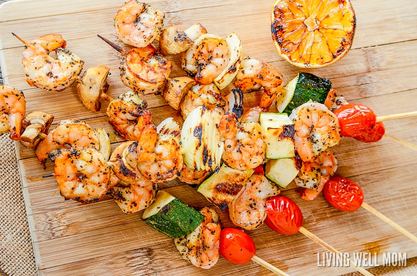 Lemon Garlic Grilled Shrimp is deliciously seasoned and good for you with just vegetables, shrimp, and spices, plus so easy to make! This simple recipe is a great way to change up any grilling routine. Plus it's Paleo, gluten-free, dairy-free, and with no sugar!