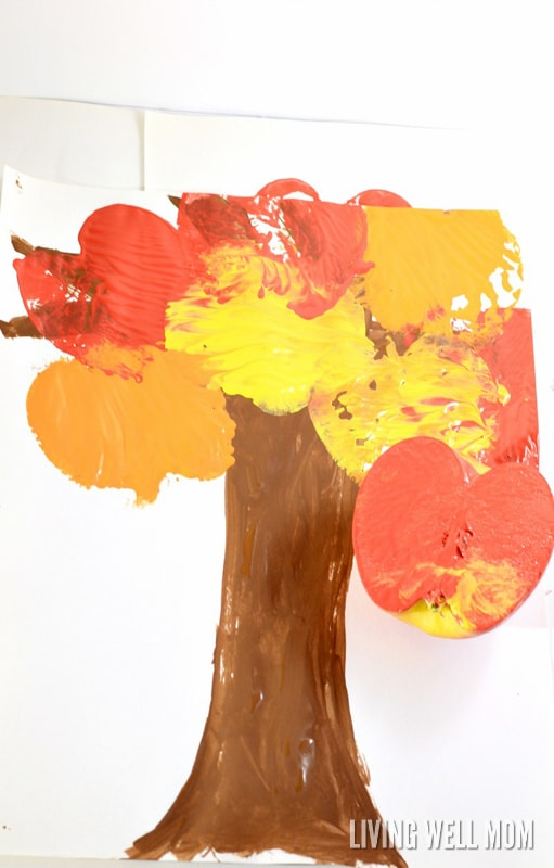Apple stamping is a fun way for preschoolers to explore art. Make a colorful fall tree with apple stamping for a craft you'll be proud to display!