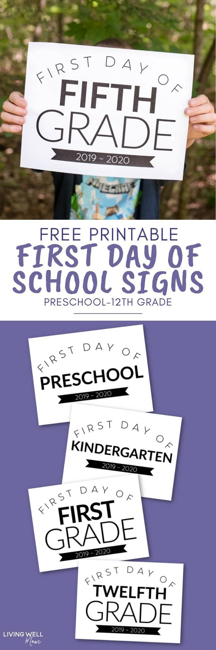 picture about 1st Day of School Sign Printable called Cost-free Printable Initial Working day of Faculty Signs or symptoms for All Grades