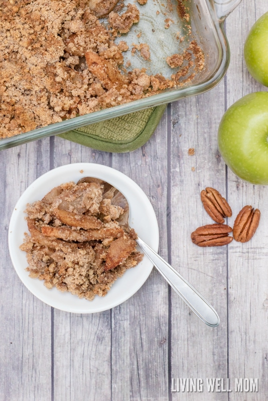 Paleo Grain-Free Apple Crisp - this easy recipe has all the deliciousness of your favorite fall dessert without the gluten, grains, dairy, or sugar! If you're looking for a satisfying healthy dessert, this is a winner! Gluten-Free, Grain-Free, Dairy-Free, Sugar-Free