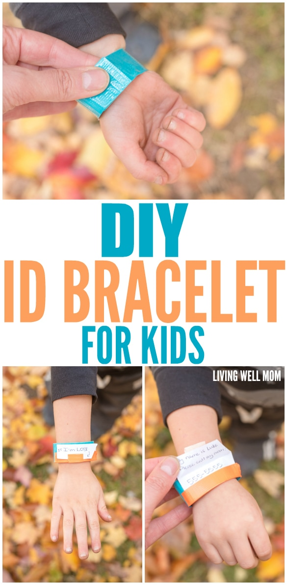 DIY ID Bracelet for Kids - How to make a simple ID bracelet for kids in less than 5 minutes. Perfect for busy places with small kids or as a reminder of allergies, you can include your choice of information.