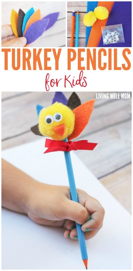 Turkey Pencils Craft for Kids - Kids will love crafting their own turkey pencils for Thanksgiving with this easy craft and when they're finished, everyone can write what they are thankful for!