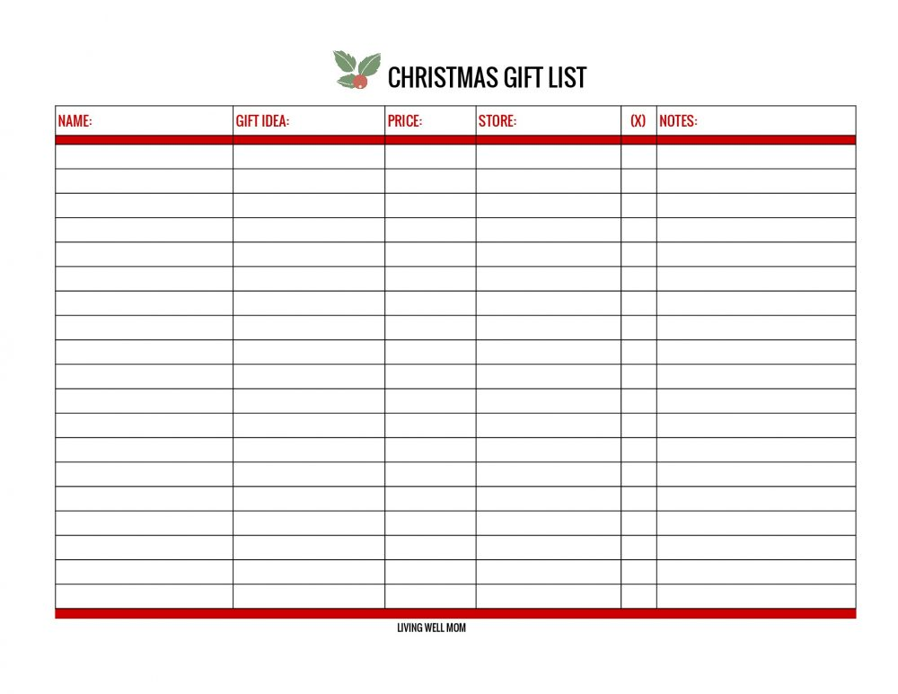 free christmas gift list  printable and online versions