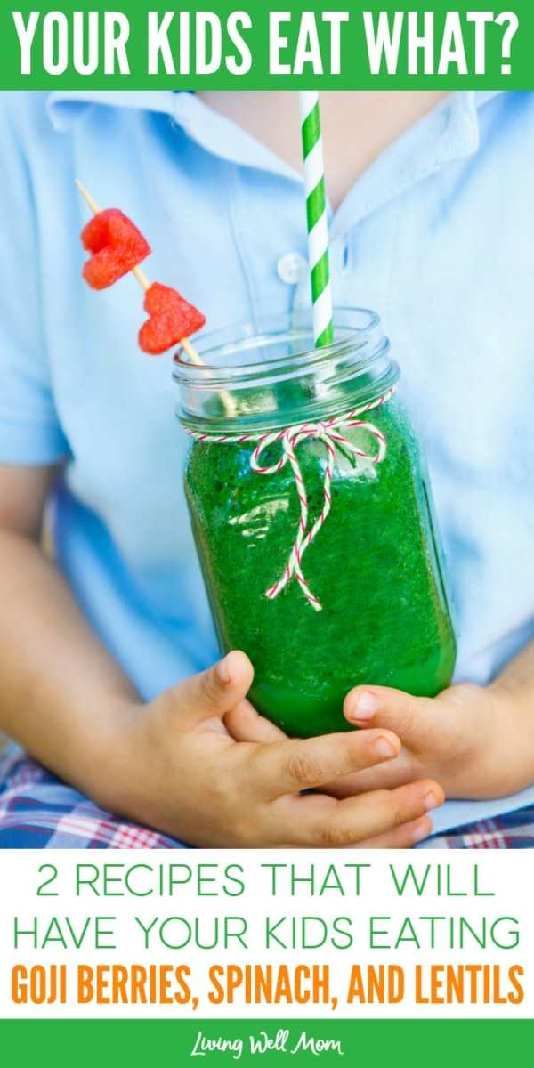 Ever wish there was an easier way to get your kids eating healthy food? Here are 2 recipes that will have your kids eating goji berries, spinach, and lentils without even realizing it!