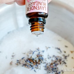 """Treat yourself to a relaxing all-natural Lavender Milk bath soak using Epsom salts and essential oils. This also makes a wonderful homemade Mother's Day gift! """