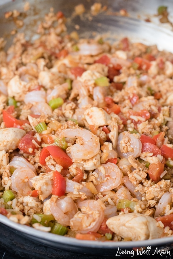 With shrimp, ground sausage, and chicken, this One-Pot Jambalaya dinner is kid-friendly and ready in 30 minutes or less!