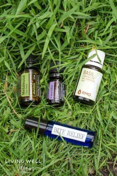 essential oils and roller bottle for bug bites