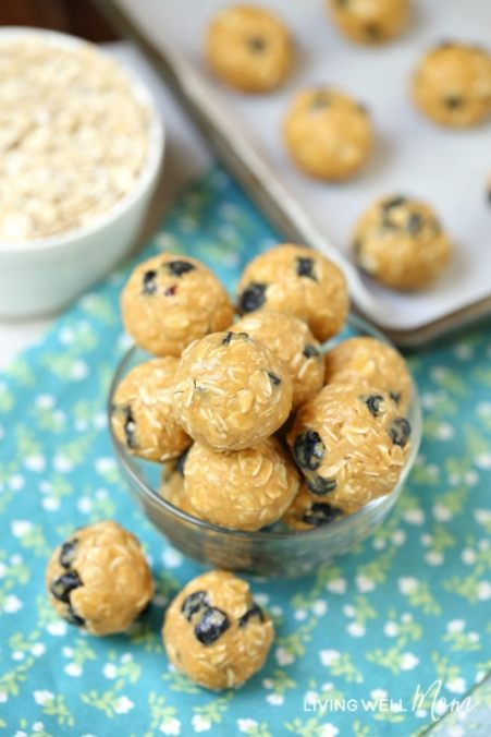 blueberry energy bites in a bowl
