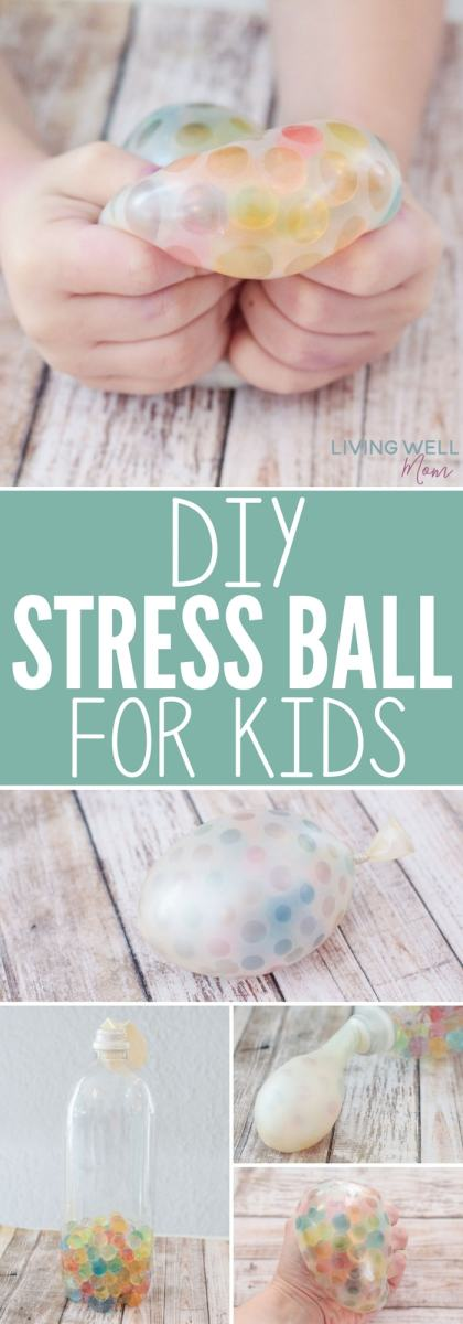 How to make a DIY Stress Ball for kids (or mom!) This easy-to-make stress ball has a fun, soft texture kids love squeezing as it helps them calm down, soothe themselves, or just play with it for fun. It's great for autistic kids too! You may find you have to make one for every person in your family!