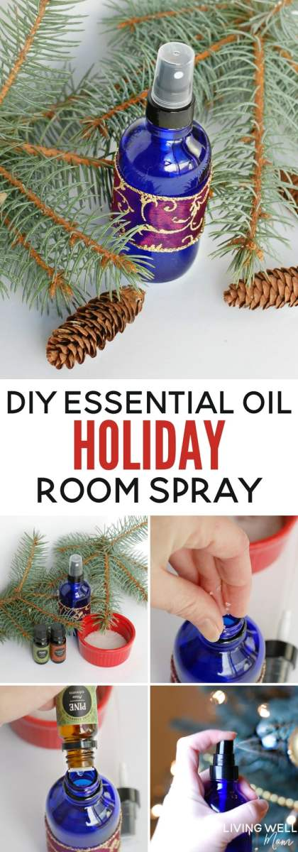 "This delightful DIY holiday-scented essential oil room spray is all-natural and only takes a couple minutes to make. With pine and ""Christmas cheer"", it's a lovely homemade gift idea too."