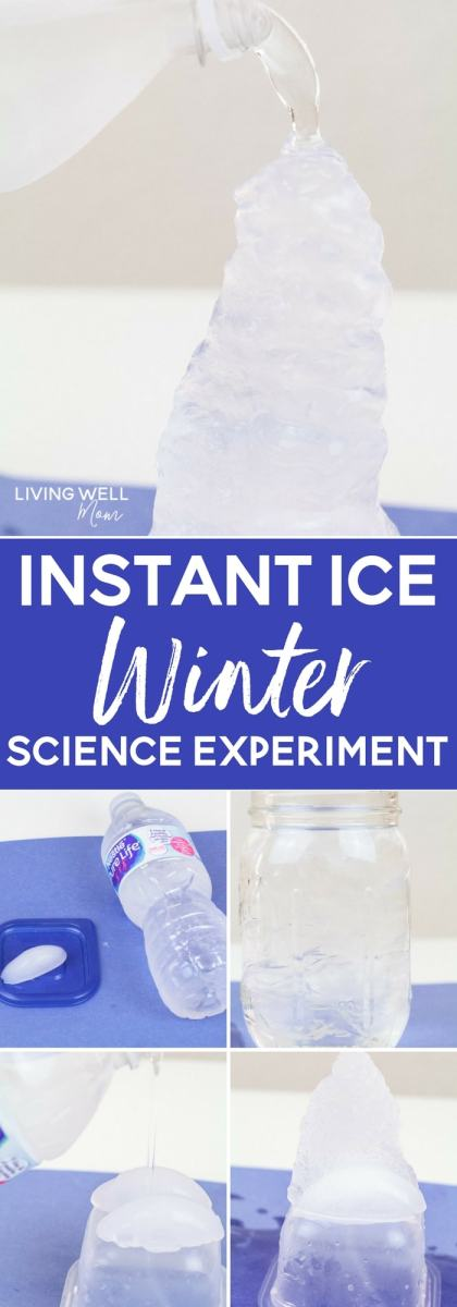 "This fun STEM activity teaches kids about the science of water and ice. They'll be amazed at how it appears you are pouring ice directly from a water bottle with this ""instant ice"" activity!"