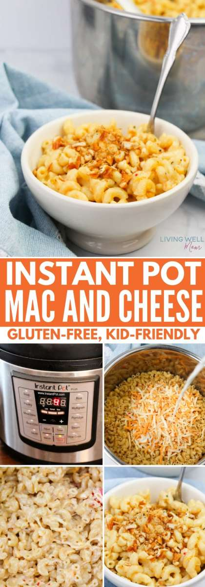Gluten-free, homemade instant pot mac and cheese and it's kid-friendly! Your kids will love this easy instant pot recipe and moms love that it's homemade and ready in about 20 minutes!