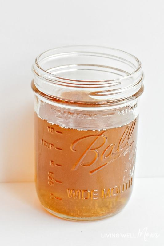 Melted butters and oils in a jar