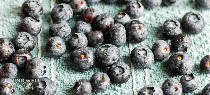 fresh blueberries sprayed with homemade produce wash
