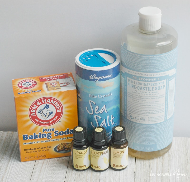 ingredients for homemade garbage disposal with essential oils