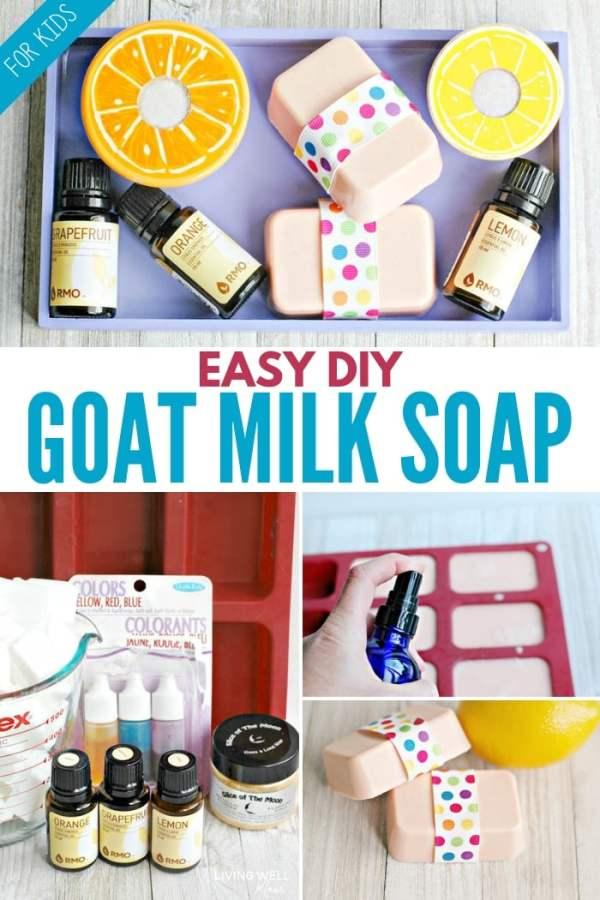 homemade easy diy goat milk soap recipe for beginners, diy goat milk soap for kids with essential oils