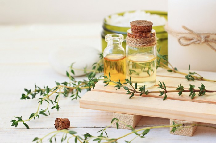 Thyme essential oil. Bottles with extract, fresh green plant leaves. Aromatherapy treatment. Botanic Spa.