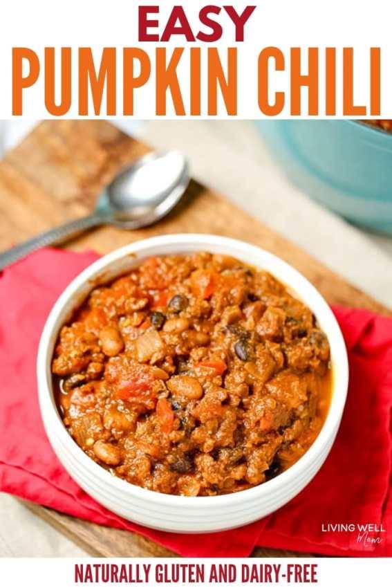 easy pumpkin chili dinner - one pot fast gluten-free dinner