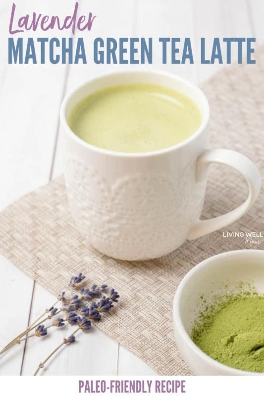 lavender green tea matcha latte recipe - paleo, dairy-free, sugar-free, fast, quick and easy