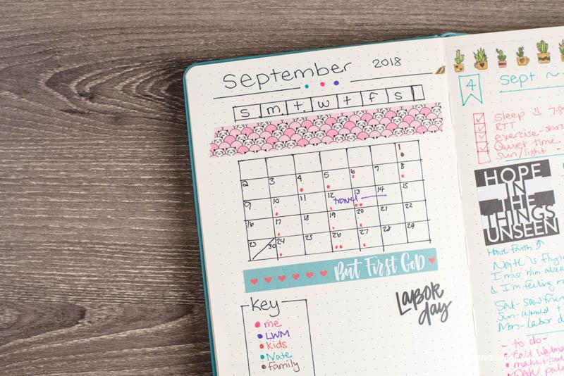 simple bullet journal calendar layout