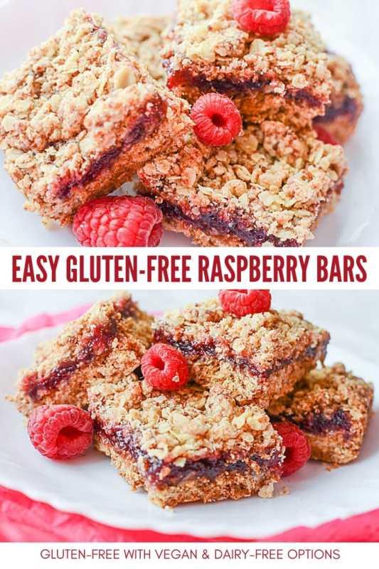 easy gluten-free raspberry bars recipe - vegan and dairy-free option too