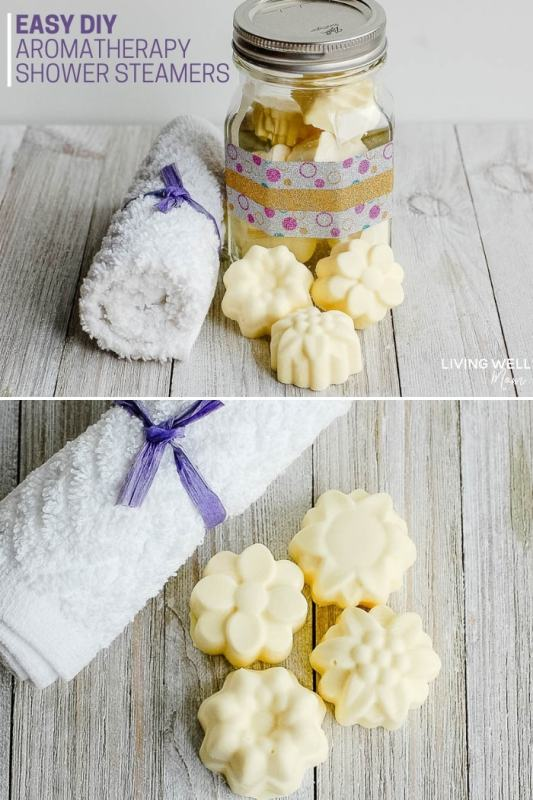 homemade shower steamers with essential oils