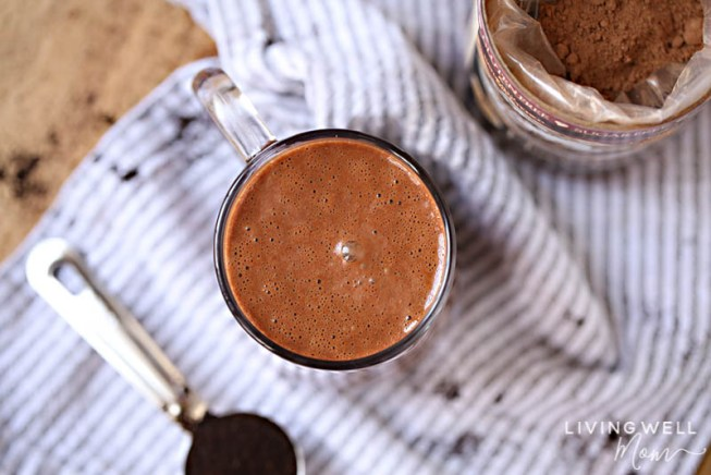 chocolate latte in a mug