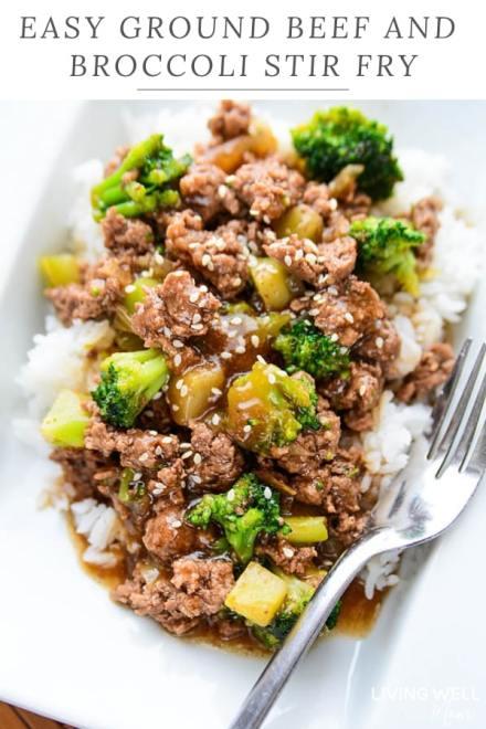 hamburger beef and broccoli with rice stir fry